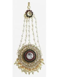 DollsofIndia White, Maroon And Green Stone Studded Jhoomar With White Beads - Worn On The Left Side Of The Head...
