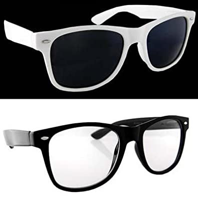 Lot 2 Wayfarers Black Clear Lens and White Dark Lens