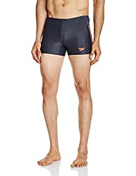 Speedo Male Swimwear Solid Color Blend Placement Panel Aquashort (8901326546796_804510A824_34_Oxid Grey, Deep Peri and Siren)