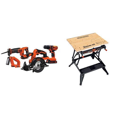 Black & Decker BD4KITCDCRL 20V MAX Drill/Driver Circular and Reciprocating Saw Worklight Combo Kit with BLACK+DECKER WM425-A Portable Project Center and Vise