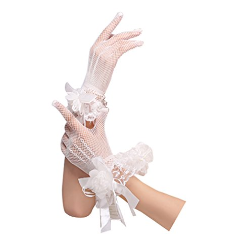 L'ivresse Short Tulle Wrist Flower Fingerless Wedding Bridal Gloves White
