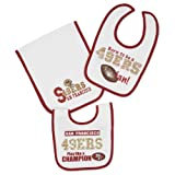 NFL San Francisco 49ers Infant Bib & Burp Set, 3-Piece, 2 Bibs & 1 Burp Cloth