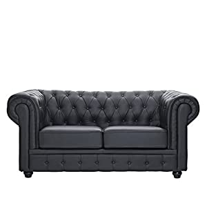 LexMod Chesterfield Loveseat in Black Leather and Leather Match