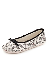 M&S Collection Abstract Print Bow Ballerina Slippers