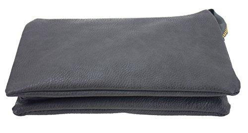Women'S Soft-Feel Leather Zipper Wristlet Crossbody Wallet (Gray)