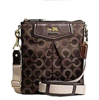 Coach Madison Signature Dotted Op Art Swingpack Crossbody Messenger Bag Brown