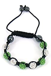 Shamballa Inspired 10mm Crystal Beads Kids Children Bracelets Green and White Beads
