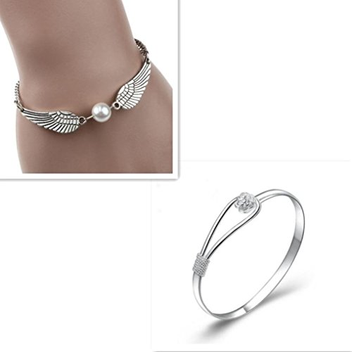 Sannysis Silver Infinity Retro Pearl Angel Wings Jewelry Dove Peace Bracelet