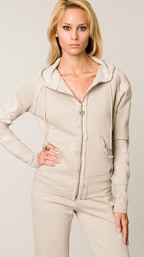 Taupe, drawstring hoodie with fleur di lis charm zip-closure down center