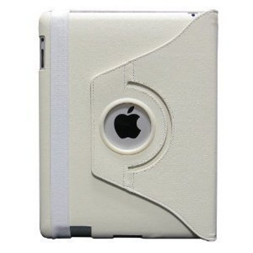 Fosmon 360 Degree Revolving PU Leather Case With Multi Angle Stand for Apple New iPad 3 - White (w/Magnetic Sleep Function)