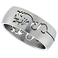 Stainless Steel 5/16 in. (8 mm) Dome Band w/ Dragon Cut-Out (Available in Sizes 8 to 14), size 14