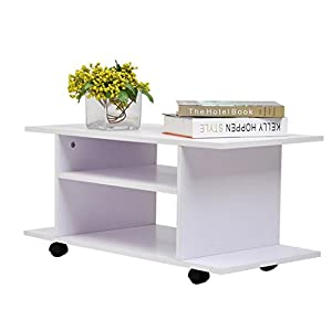 Homcom mesa armario m vil mueble de tv tele de madera - Mesas con ruedas para tv ...
