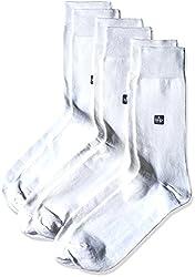 Arrow Men's Plain Knee-high Socks (Pack of 3) (8904135548012_White)