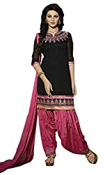 Adorn Mania Black Georgette Embroidered salwar Suits Dress Material
