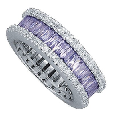 Sterling Silver Violet & White Cubic Zirconia 7 mm Eternity Band Ring - Size 6