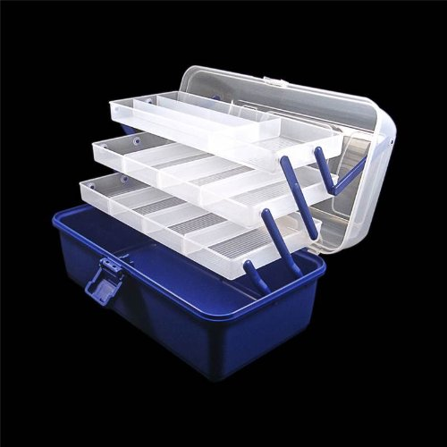 3 Tray Cantilever <strong>Fishing< strong>, Crafts and Sewing <strong>Box< strong>, Adjustable Compartments