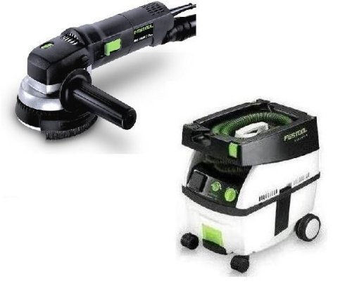 Festool Pi570789 Ras 115.04 E 4-1/2 In. Rotary Sander With Ct Midi Hepa 3.3 Gallon Mobile Dust Extractor front-557846
