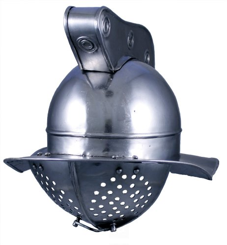 RedSkyTrader Mens Steel Plume Gladiator Helm One Size Fits Most Metallic