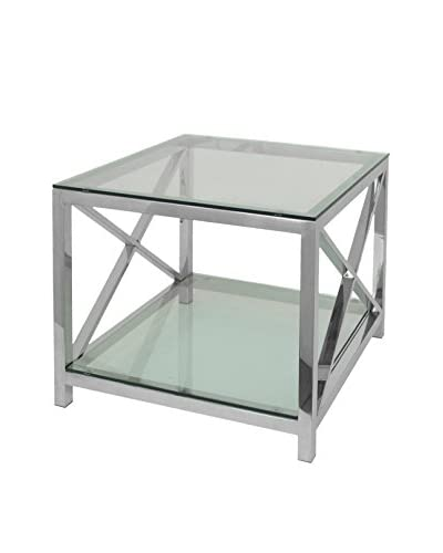 Three Hands Metal Glass Top End Table
