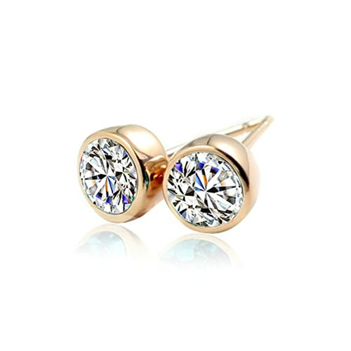 Yoursfs Ladies Rose Gold Plated Shinning Crystal Stud Earrings