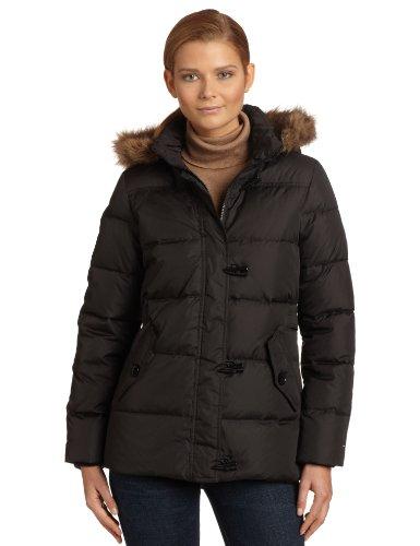 Tommy Hilfiger Women's Hooded Down Jacket, Black, Medium