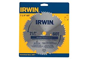 IRWIN Tools Classic Series Steel Corded Circular Saw Blade, 7 1/4-inch, 60T, .087-inch Kerf (11240)