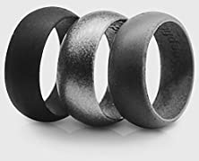 buy 3 Silicone Wedding Ring Silicone Wedding Band For Men Metallic Ring Set For Crossfit, Climbing, Wod'S And Outdoor Sports (Black - Grey - Metalic Black, 12)
