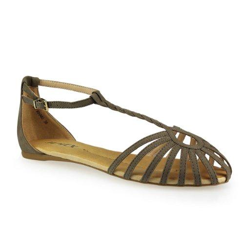 Damen Schaftsandaletten - Tauschen Sie Ihre Winterstiefel in sommerliche Sandalen mit antikem Charme khaki 37