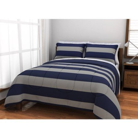 Twin Xl Gray & Blue Rugby Stripe Reversible Comforter Bed -In-A-Bag Set, Comforter Sheets Sham