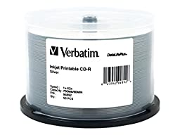 Verbatim CD-R 700MB 52X DataLifePlus Silver Inkjet Printable - 50pk Spindle 94892