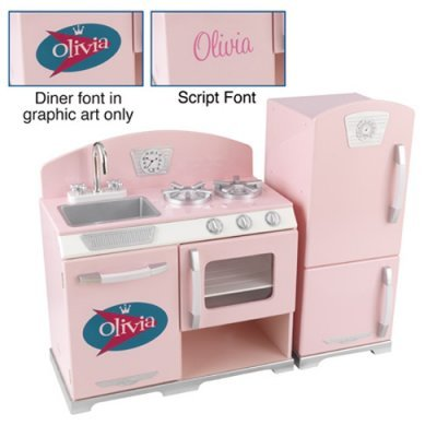 KidKraft Personalized Pink Retro Kitchen and Refrigerator Baby Pink (Default Artwork) - W53160-2