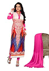 7 Colors Lifestyle Women Georgette Salwar Suit Dress Material (Aekdr1007Feqn _Pink _Free Size)