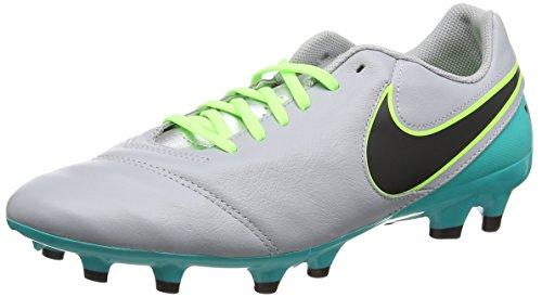 Nike Men's Tiempo Genio II Leather FG Wlf Grey/Blk/Clr Jd/Mtllc Slvr Soccer Cleat 10.5 Men US (Tiempo Nike Ii compare prices)