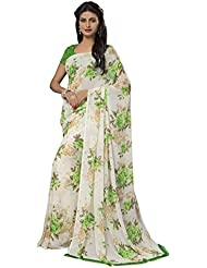 Ishin Faux Georgette Off White Floral Printed Women's Saree.