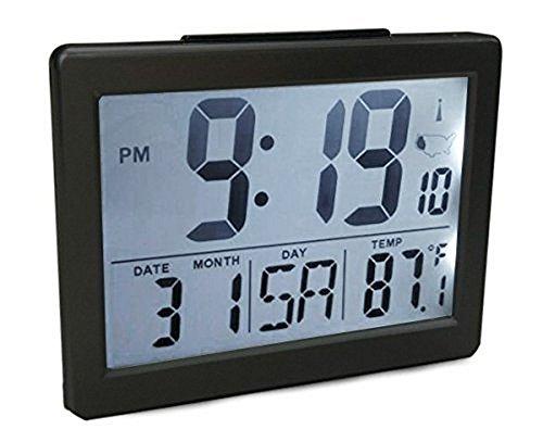 """Atomic Desk/bedroom Alarm Clock Black-1.5"""" Time Number"""