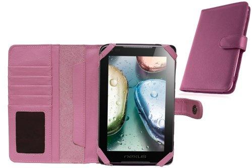Navitech 7 Zoll bycast Leder flip Trage Case / Cover im Buch Stil für das Chiligreen E-Board HT400 (Chiligreen E-Board HT400, pink)