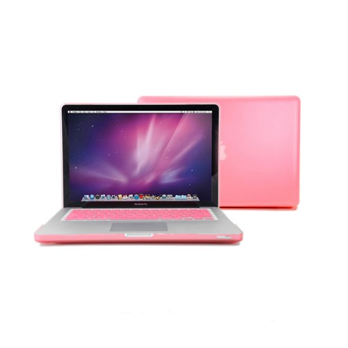 """Gmyle(R) 2 In 1 - Pink Frosted Matte Rubber Coated Rubberized See Thru Hard Snap On Case For Apple 13.3"""" Inch Macbook Pro - With Silicone Pink Protective Keyboard Skin Cover front-297086"""