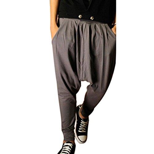 Minetom Elastico in vita Pantaloni da Jogging da Uomo sportivi Casual Hip-Hop Sarouel danza Pantaloni in esecuzione ( Grigio EU L )