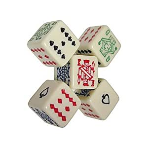 Da Vinci 6 Sided poker dice. Play a game of draw poker with these special dice
