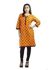Fashion Freaks Orange Cotton Printed V-neck Kurti