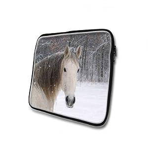 Chevaux 10026, Cheval dans la Neige, Néoprène Laptop Housse Pochette Sac de Protection Sleeve Etui Cover Case Zippée Pouch Résistant à L'eau avec Dessin Coloré pour Apple Apple iPad 1 2 3 4.