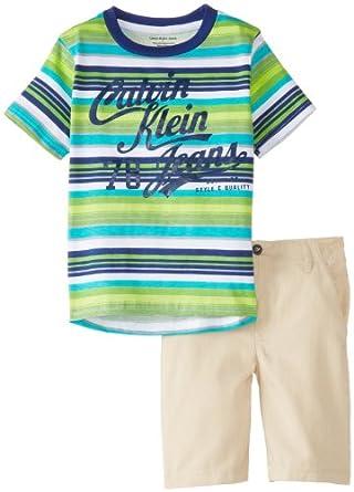 Calvin Klein Little Boys' Crew Neck Stripes Tee with Shorts, Green, 4