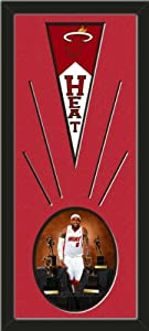 Miami Heat Wool Felt Mini Pennant & LeBron James Poses Photo - Framed With Team... by Art and More, Davenport, IA