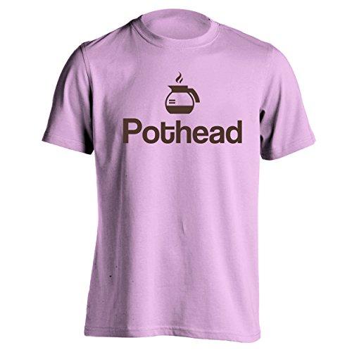 Pot Head Funny Coffee Lover Mens Shirt Medium Pink