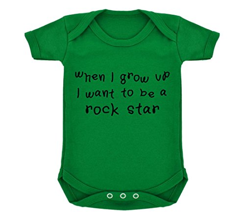 Quando i crescere i want to be a Rock Star Design Baby Body Verde Smeraldo Con Stampa In Bianco E Nero Green 6-12 Mesi