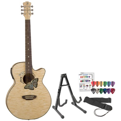 Luna Guitars Fau-Btfly Fauna Butterfly Acoustic-Electric Guitar W/ Stand, Strap & Pick Sampler