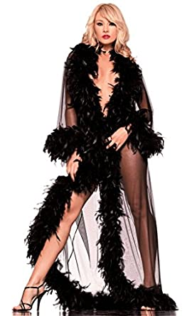 Feather See Through Lingerie Robe: Adult Exotic Negligees: Clothing