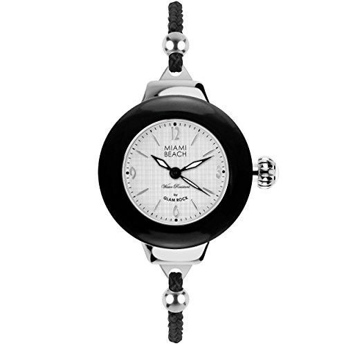 Glam Rock MBD27185 - Reloj para mujeres, correa de nailon color negro