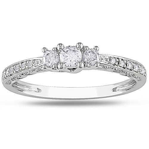 0.58 Carat Trilogy Cheap Engagement Ring with Round cut Diamond on 18K White gold