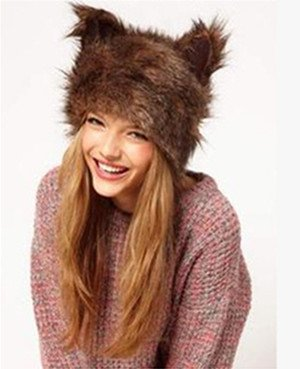 Dikoaina Halloween Animal Hat Fuax Fur Hats with Ear Best Gift